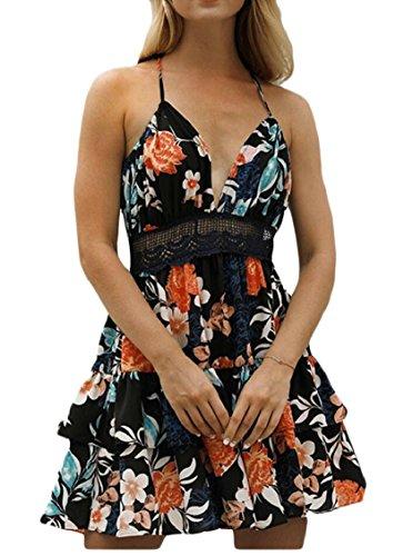 Jaycargogo Femmes Imprimé Floral Licol Col V Été Plage Mini-robes Noires
