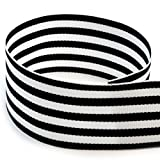 USA Made 1-1/2'' Black & White Monarch Striped Grosgrain Ribbon - 20 Yards (Multiple Colors & Widths Available)