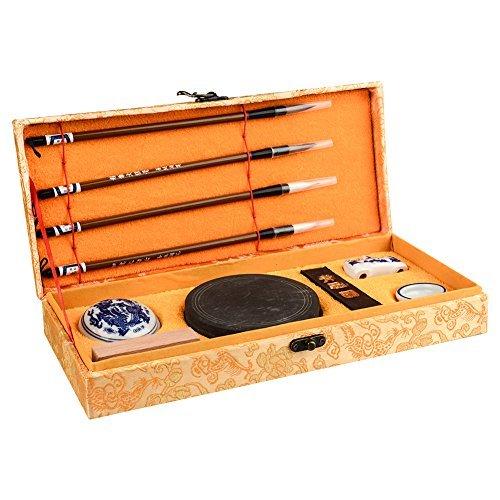 Chinese Calligraphy Brush, Aeola Chinese Brush Painting Gift Set,Chinese Brush Writting or Paintting + Inkstone + Ink Block + Stamp + Ink Paste + Penholder + Water Bowl ( 10 PCS)