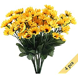 Nahuaa 4PCS Mini Artificial Silk Sunflowers Bundles Fake Flowers Bouquets Fuax Floral Table Centerpieces Arrangements Decor Wedding Home Kitchen Office Windowsill Spring Decorations