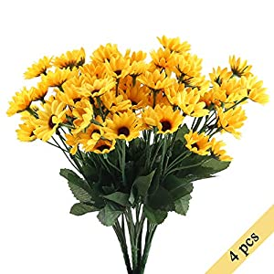 Nahuaa 4PCS Mini Artificial Silk Sunflowers Bundles Fake Flowers Bouquets Fuax Floral Table Centerpieces Arrangements Decor Wedding Home Kitchen Office Windowsill Spring Decorations 96