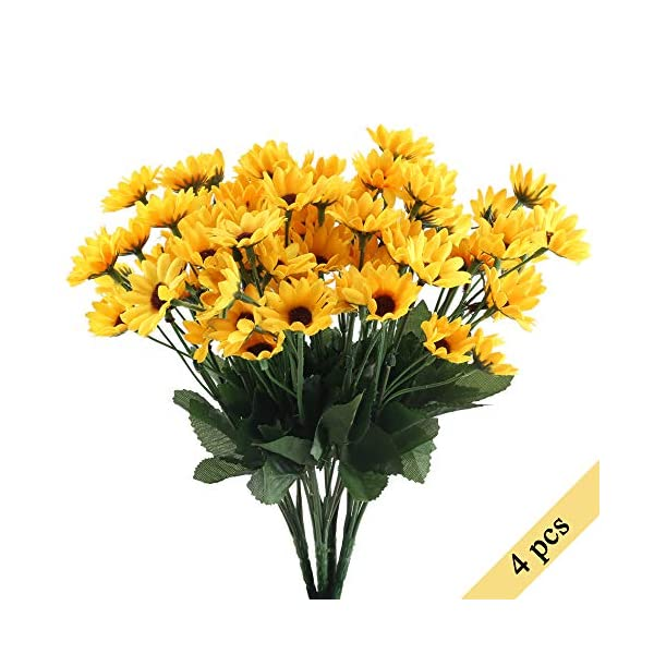 Nahuaa-4PCS-Mini-Artificial-Silk-Sunflowers-Bundles-Fake-Flowers-Bouquets-Fuax-Floral-Table-Centerpieces-Arrangements-Decor-Wedding-Home-Kitchen-Office-Windowsill-Spring-Decorations