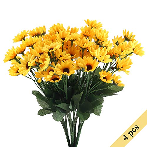 Nahuaa 4PCS Mini Artificial Silk Sunflowers Bundles Fake Flowers Bouquets Fuax Floral Table Centerpieces Arrangements Decor Wedding Home Kitchen Office Windowsill Spring Decorations -