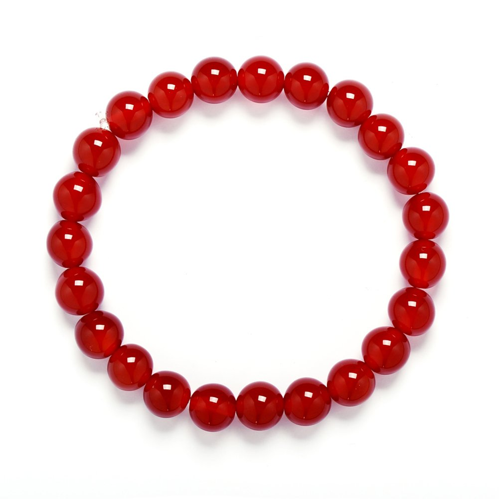 Bracelet,Gemstone Birthstone 8mm Red Agate Beads Beaded Balance Bracelet Stretch 7'' Unisex(Red Agate)