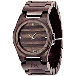 Wooden Watch for Men and Women - Gili Natural Ebony Wood Grain - Wrist Watches with Case - Matoa by WÜD