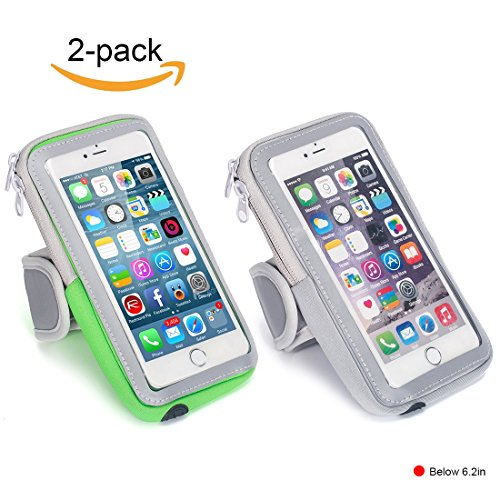 Lulutus Outdoor Sports Armband Casual Arm Package Bag Cell Phone Holder for Running Gym Wrist Bag for iphone7P/6sP,Samsung Galaxy S8/S7/S6,iphone7/iphone6s,Large,Gray&Green