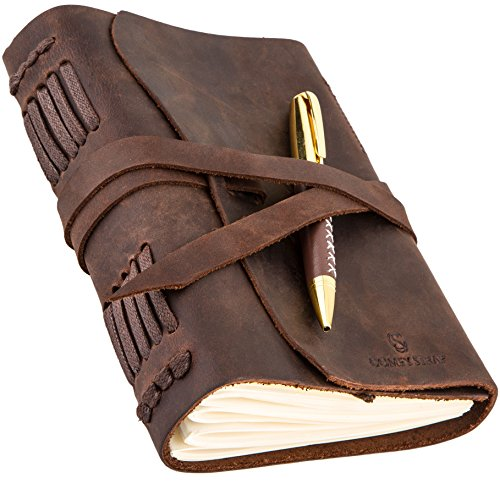 Leather Journal for Mens Womens - Leather Bound Journal - Genuine Brown Leather Travel Journal - Personalized Sketchbook - Refillable Soft Diary - Real Handmade Vintage Writing Notebook - Journal Set
