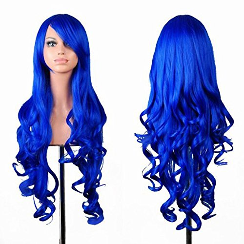 Kissparts Curly Cosplay Wig For Women With Wig Cap and Comb Blue 32