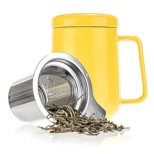 Tealyra - Peak Ceramic Yellow Tea Cup Infuser - 19-ounce - Large Mug with Lid and Stainless Steel Infuser - Tea-For-One Perfect Set for Office and Home Uses - 580 milliliter (How Do You Infuse Tea)