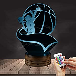 Female Basketball Player Silhouette LED Night Light Play Basketball Kid Room Night Light 3D Optical Illusion Night Lamp for Sport Lover Gift