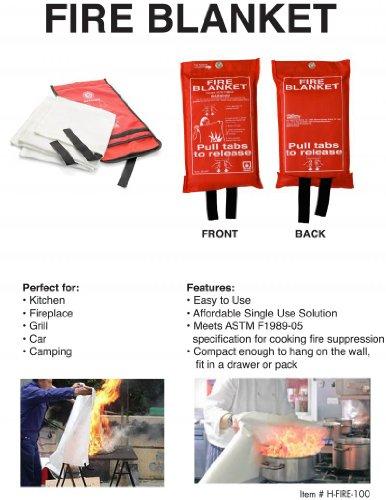 Hot Headz H FIR BLN100 Fire Blanket, 36 x 36 Inch, Red