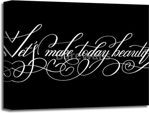 Let''S Make Today Beautiful Handwritten Modern Calligraphy Positi Gallery Wrapped Canvas Art (16 in. x 20 in.) by barewalls