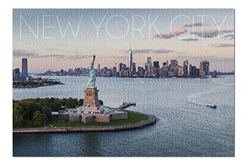 (New York City, NY - Aerial View and Statue of Liberty - Photography (20x30 Premium 1000 Piece Jigsaw Puzzle, Made in USA!))