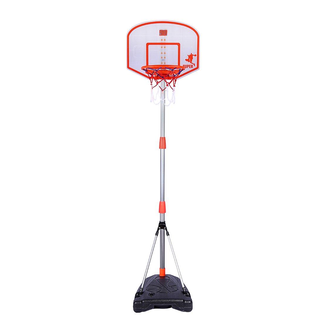 RuiyiF Adjustable Basketball Hoop Kids with Scoreboard, Basketball Portable System -Basketball Stand, Hoop, Basketball 38-67 Inch Height