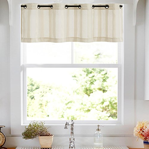 Sheer Valance for Windows Striped Valance Curtains Kitchen Valances for Windows 14 inch Length Grommet Top Valances Window Treatments, 1 Panel, Taupe
