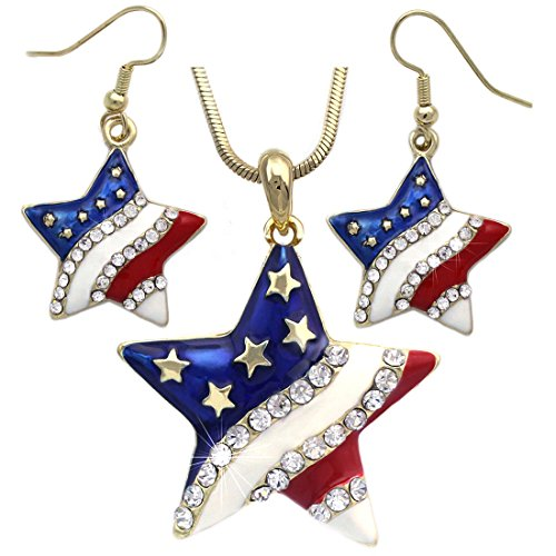 cocojewelry 4th of July USA American Flag Heart Star Pendant Necklace Earrings Set (Star Hook Gold-Tone)