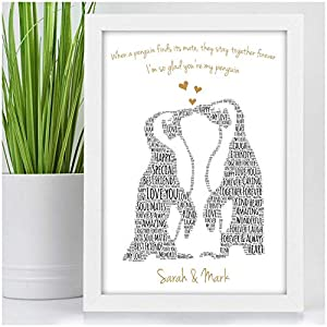 Kissing Penguins Personalised Birthday Christmas Gifts for Couples Her Him Husband Wife Girlfriend Boyfriend Animal Couples Penguin Couple Presents – PERSONALISED with ANY 2 NAMES