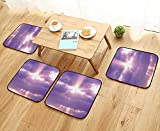 Leighhome Anti-Skid Chair Cushions Sunburst On Cloudy Sky Rainy Weather Romantic View Decorating Picture Purple White Health is Convenient W19.5 x L19.5/4PCS Set