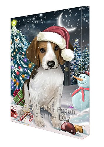 Have a Holly Jolly Christmas Treeing Walker Coonhound Dog in Holiday Background Canvas Wall Art D169 (11x14)