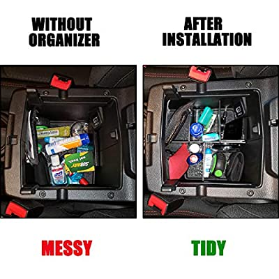 Center Console Divider Organizer Compatible with Jeep Wrangler JL/JLU (2020 2020 2020) and Jeep Gladiator JT Truck (2020), Armrest Box Storage Inserts Accessories (Not for JK/JKU): Automotive