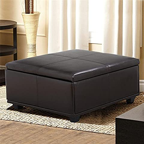 Yaheetech Large Square Faux Leather Ottoman Storage Table Upholstered Bench Brown (Brown Ottoman Round)
