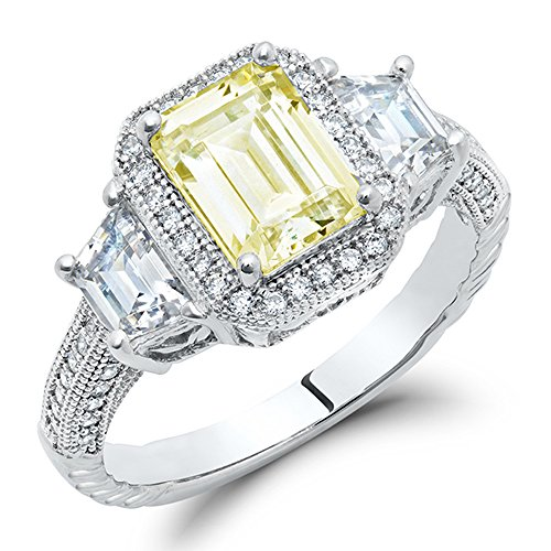 DTLA Sterling Silver Canary Yellow Three Stone Emerald Cut Engagement Ring with Cubic Zirconia Canary Engagement Rings