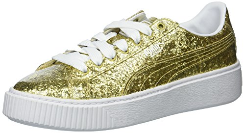- PUMA Women's Basket Platform Glitter Wn Gold, 7.5 M US