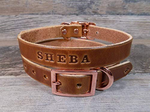 Handmade Personalized Rose Gold-tone Brown Leather Dog Collar with FREE Name, Pick Your Font (Number Buckle)
