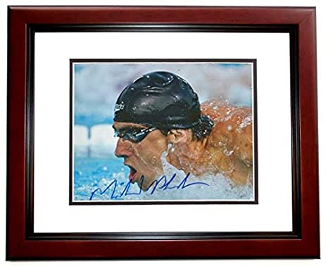 michael phelps signed autographed swimming 8x10 photo mahogany custom frame guaranteed to pass psa - Michaels 8x10 Frame