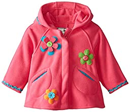 Widgeon Baby Girls\' Zip Front Hooded Jacket with Flower Applique, Paloma Pink, 9 Months