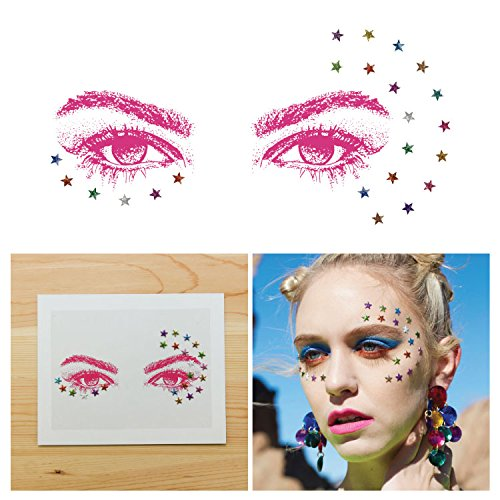 Tattify Face Jewels, Rhinestone Rave Colorful Stars (Set of 1) Self-Adhesive and Easy To Stick On Eye Gems and Rocks, Long Lasting and - Coachella Guys