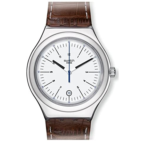 Swatch Appia Silver Dial Brown Leather Mens Watch YWS401 (Sport Swatch Men)