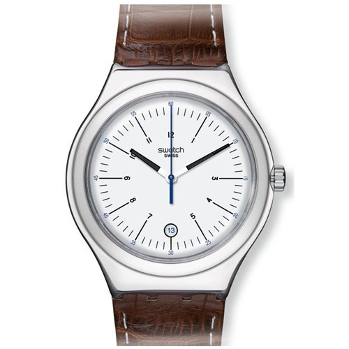 galleon swatch appia silver brown leather mens