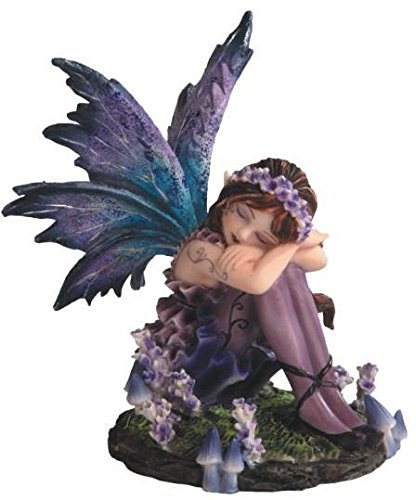 StealStreet SS-G-91587 Young Blue And Purple Fairy Sleeping In Garden Figurine, Small from StealStreet