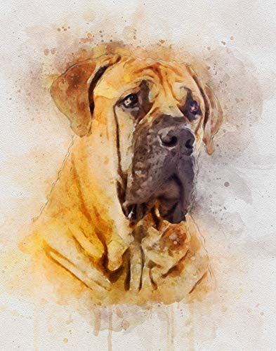 Watercolor Art Print in Various Sizes - English Mastiff Decor for a Nursery, Home or Office - A Great Gift for a Mastiff Lover, Pet Remembrance or Pet Memorial ()
