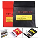 Lipo Battery Guard Bag, Fireproof LIPO Battery Protection Bag Sleeve Bag Pouch Sack Holder for Charging, 180 mm x 200 mm (7.09inch x 7.87inch), Red & Black Color,Pack of 2, Sold By Lsgoodcare