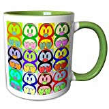 3dRose Sandy Mertens Pop Art Designs - Cartoon Penguin Pop Art - 11oz Two-Tone Green Mug (mug_8061_7)