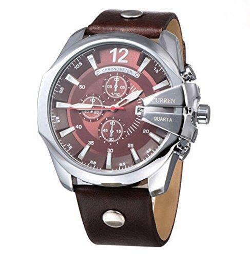 CURREN Original Mens Sports Waterproof Calendar Leather Strap Wrist Watch Good Quality 8176 Silver Brown