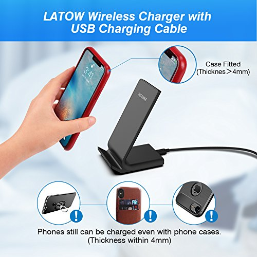 LATOW Wireless Charger, 7.5W Qi Wireless Charger Compatible for iPhone X/8/8 Plus, 10W Fast Wireless Charger Compatible for Galaxy S9/S9+/S8/Note 8/S7/S7 Edge, 5W for QI-Enabled Devices (No Adapter) by LATOW (Image #4)