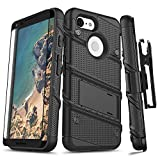 Zizo Bolt Series Compatible with Google Pixel 3 Case Military Grade Drop Tested with Full Glass Screen Protector Holster and Kickstand Black Black