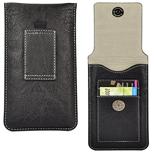 5 Inch Cellphone Belt Clip Pouch Case Card Holder for BLU Vivo Air LTE / Life One / BLU Studio Energy / G / X / Studio 5.0Ce / 5.0 II / 5.0 LTE / 5.0 HD LTE / Win HD / Win HD LTE (Black)