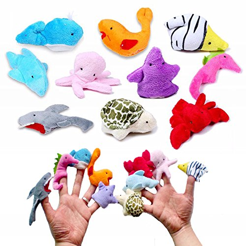 10 pcs Sea Animal Finger Puppets for Children,You Story Dolls Finger Puppet Soft Small Toys For Baby Kids Toddler, Plush Fingers Decorations Hand Play Fun Family Games -