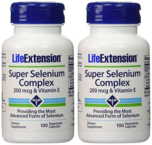 Life Extension Super Selenium Complex 200 mcg & Vitamin E, 2 Pack (2x100 vegetarian capsules)
