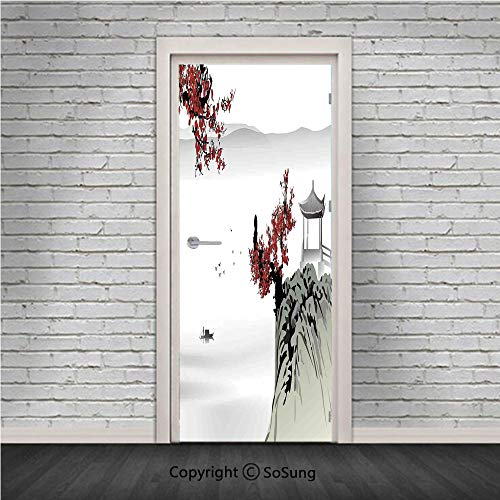 Asian Decor Door Wall Mural Wallpaper Stickers,Asian River Scenery with Cherry Blossoms and Boat Cultural Hints Mystical View Artsy Work,Vinyl Removable 3D Decals 30.4x78.7/2 Pieces set,for Home Decor