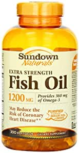 Sundown Naturals Fish Oil 1200 Mg Extra Strength Softgels, 200 Count