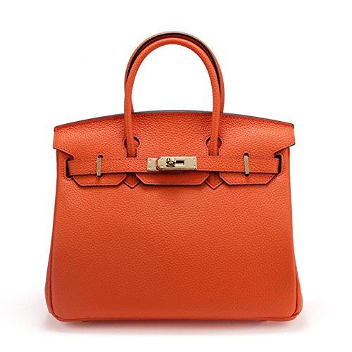 GUANGMING77 _Handtaschen Handtaschen Handtaschen Geprägte Schulter Sperren orange