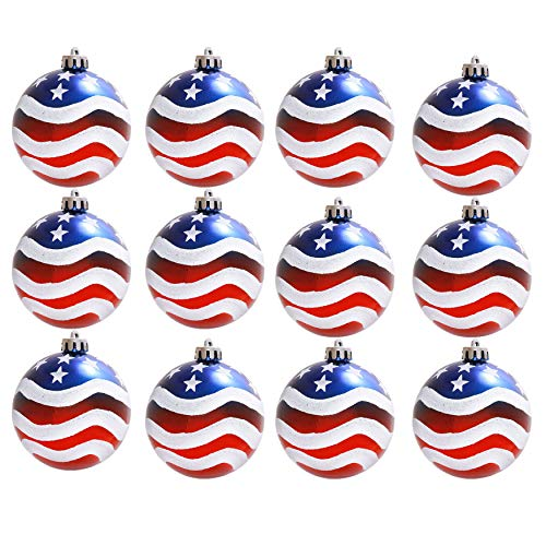 (Geek-M 12PCS Stars & Stripes Christmastree Ball Ornaments 8mm Patriotic Ball Hanging Independence Day Party Decor Holiday Wedding Tree Decorations)
