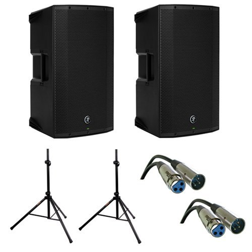(2) Mackie Thump15A -1300W 15'' Powered Loudspeaker (Single) with (2) Steel Speaker Stand and (2) XLR-XLR Cable by Mackie