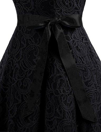 Fiesta Mujer Negro V Lazo Vestidos Cuello Gremmi Sin De Con Corto Vestido Encaje Mangas qOEWX7w