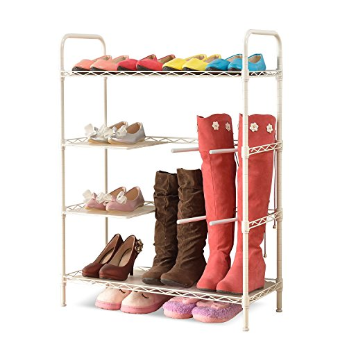 Homfa 4-Tier Irregular Steel Shoe Rack Adjustab...